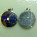 Sterling Silver Om Inlay, Lapis